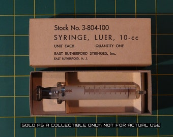 Unopened Box 10cc East Rutherford Glass Syringe Military Contract 1960's - Vintage Medical Equipment
