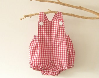 Baby Boy Newborn to 3T Baby Boy Rompers Red Gingham  Romper Summer  Sunsuit Toddler  Baby Shower Christening Baptism