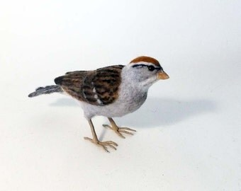 Chipping Sparrow Needle Felted Bird - Made to order