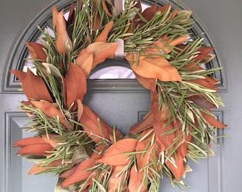 "Dried Olive & Magnolia Wreath- 20"""