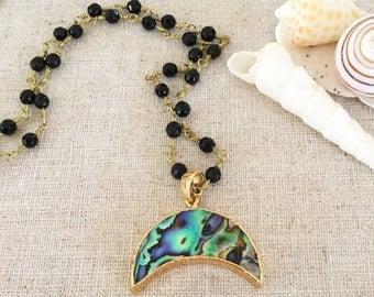 Beaded Abalone Crescent Shell Statement Boho Necklace Beach Sea Ocean Outer Banks All Washed Up