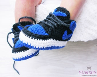 Blue Baby Booties Crochet Baby Shoes Air Jordan Baby Boy Shoes Baby Street Shoes Athletic Shoes Newborn Sneakers Shoes Blue and Black BB103