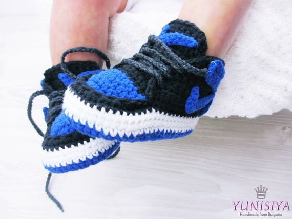 Blue Baby Booties Crochet Baby Shoes Air Jordan Baby Boy Shoes