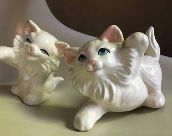 Precious Playful Ceramic White Persian Kitten Pair