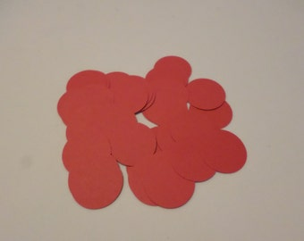 """48 1"""" card stock circles, red, for embellishments, card making, scrapbooking, paper crafting"""