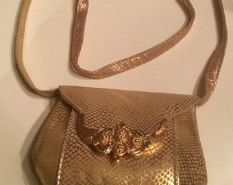 Vintage Gold Adjustable Strap Shoulder Bag Crossbody Purse