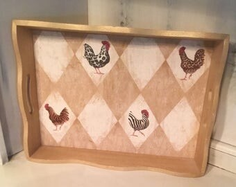 Vintage Rooster wood Tray