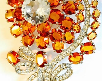 """Signed Eisenberg Ice Huge New Vintage Stock Amber and Clear Rhinestones Flower Pin Brooch 4"""""""