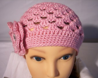 Woman's Crocheted Beanie in Sparkle Pink
