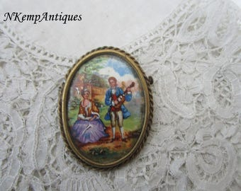 French limoges brooch 1930's