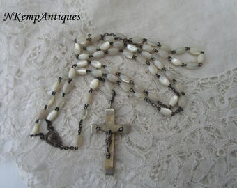 Mother of pearl rosary 1930's lucite cross