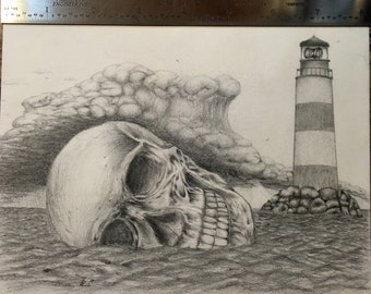 Skull and lighthouse pencil drawing. (Original)
