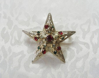 Christmas Star Brooch / Victorian Style Filigree Christmas Brooch with Rhinestones