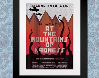 At The Mountains of Madness, H.P Lovecraft, Horror, Film Poster, Book Adaptation, Movie Illustration, Digital Print