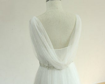 Flowy off the shoulder ivory tulle A line wedding dress with beading sash and pleated skirt