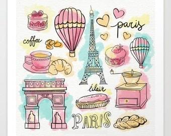 Paris Elements Art Print, Wall Art Prints, Prints, Home Decor Art, Gift Idea