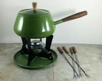 Vintage Fondue Pot Set with Forks - Avocado Green - Vintage Party Set from the 1970s