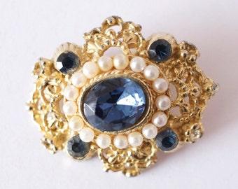 Blue stone faux pearl vintage brooch