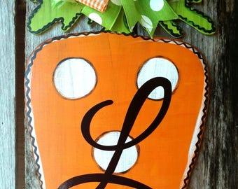 Easter Carrot Door hanger Monogram, spring, summer, wreath, hand painted door hanger