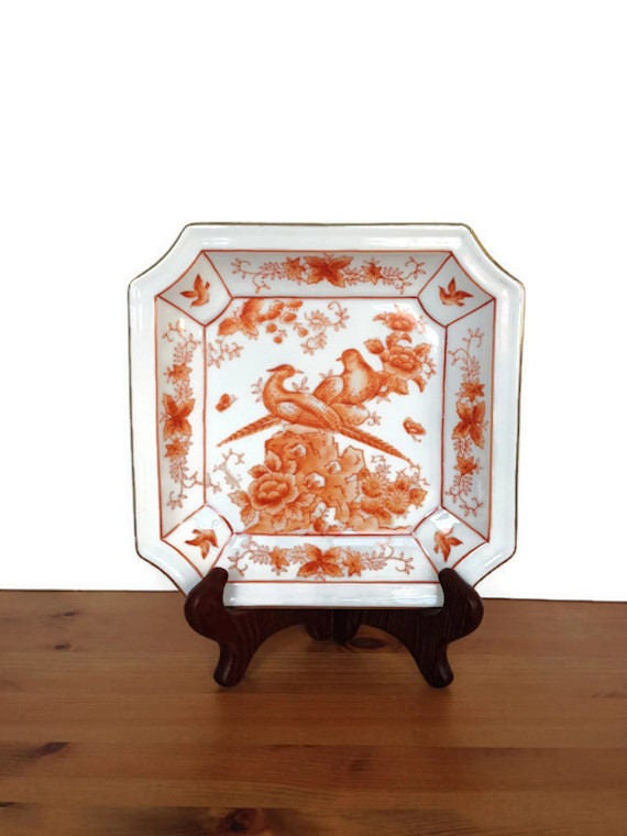 Asian style birds and flowers plate vintage octagon shaped dish