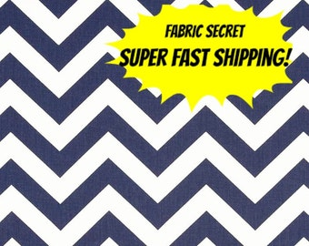 Navy Chevron Fabric by the YARD Home Decor Upholstery  Curtain Pillow Runner Slipcover Drapes blue Premier Prints cotton zigzag SHIPsFAST