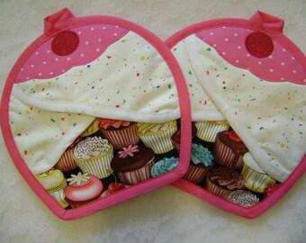 Cupcake Potholder, Cupcake oven mitts, Cupcake Kitchen, Cupcake Hot pads, Pocket potholders, Pot Holders