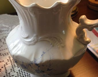 Old Shabby Chic Victorian Porcelain Water Pitcher Vase