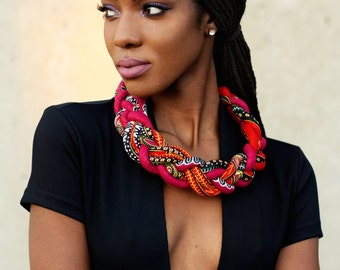 Red Dashiki Braided Necklaces