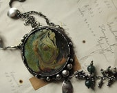 RESERVED for ashley jamie - enamel pendant botanical sterling silver necklace assemblage statement NearlyLost Jewelry