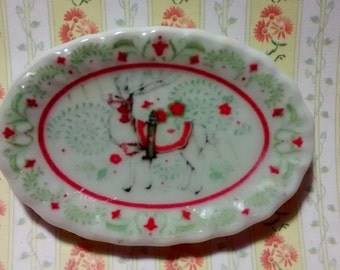 Dolls House miniature Christmas Reindeer oval tray dish