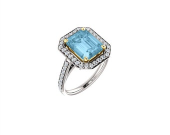 14k solid white gold diamonds and genuine blue topaz stone ring. engagement ring.