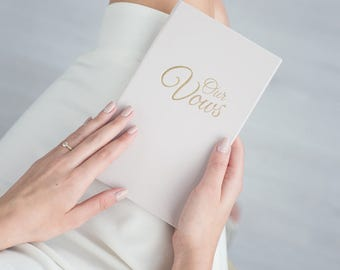 Wedding Vow Books Gold Foil Cream Keepsake Calligraphy Vows Bride and Groom Ceremony