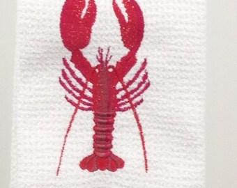 Lobster Microfiber Hand Towel - White