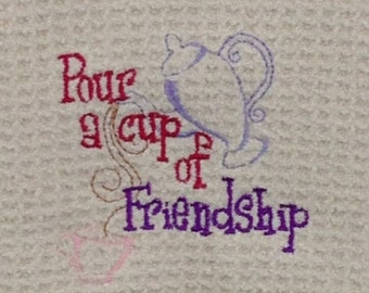 Pour a Cup of Friendship - Waffle Weave Microfiber Hand Towel - Cream