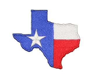 Texas State Shape Lone Star Flag Embroidered Iron/sew on Patch/Applique 3""