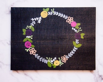 Floral Wreath wood sign {Custom lettering}