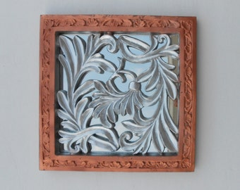 "11.5""H, Wall Mirror, Decorative Wall Mirror, Small Wall Mirror, Copper Frame Mirror, Copper & Silver Leaf Mirror, Wall Mirror Decorative"