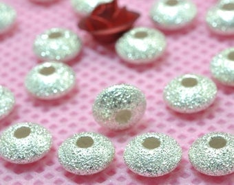 925 Sterling silver solid Rondelle  wholesale handmade jewelry Spacer beads in 6mm Diameter X 3mm Thickness