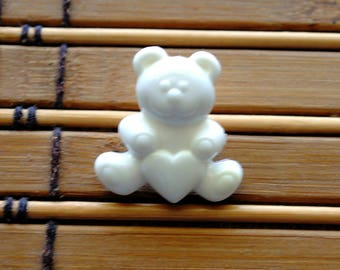 Vintage Acrylic White Teddy Bear with Heart shank style button set of 4