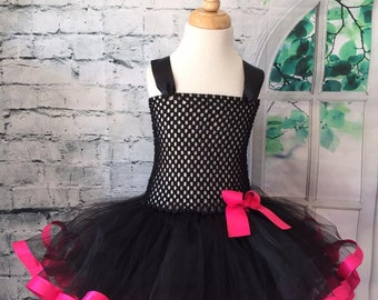 black and pink tutu, black and pink dress, black tutu, black dress, black tutu dress, black and pink tutu dress, hot pink tutu