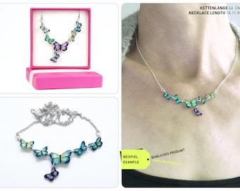 chain butterflies, necklace butterfly, cyan butterflies, one of a kind, butterfly necklace, wearable art, butterfly jewelry