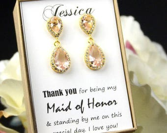 Bridesmaid Earrings Bridal Earrings Wedding Earrings Crystal Teardrop Earrings Bridesmaid Bridal Jewelry Bridesmaid Gift blush champagne