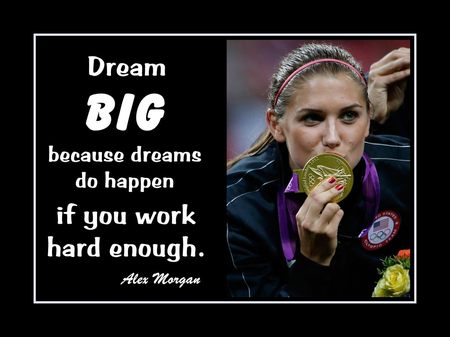 Alex Morgan Girls Soccer Inspiration Poster Dream Big Quote
