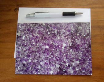 Amethyst Card: Blank Amethyst Card, Blank Card with Envelopes, Set of 5 Cards, Greeting Card, Stationery, Blank Note Card, Mineral Art, Card