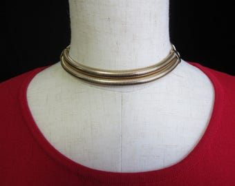 Vintage CORO PEGASUS Gold Tone  2 Strand Flexible Choker Necklace 15""