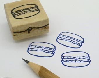 French Macaron rubber stamp