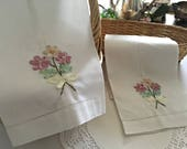Embroidered Linen Towels, White Vintage Linen Hand Towels, Floral Towels, Ivory and Rose Ribbons