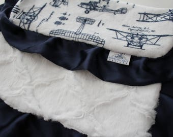 Aviator Blueprint Airplanes LOVIE in Navy and White with White Lattice Minky - Finished with Navy Satin Trim - Baby Boy, Crib Bedding