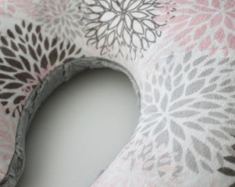 Premier Prints Blooms Minky Cuddle Pink, Blush, Gray, Charcoal and White Boppy Pillow Cover, Zipper Closure, Girl, Baby Shower, Feeding