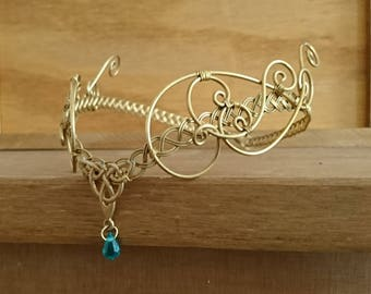 Gold Celtic medieval headpiece, green crystal elven wedding tiara circlet